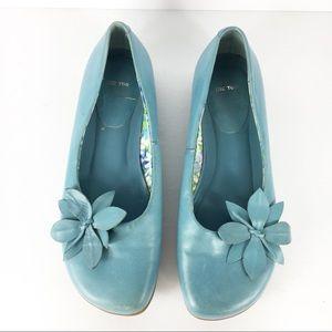 Blue Floral Ballet Flats Comfortable Adorable 8.5